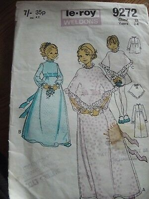 Vintage Sewing Pattern Le Roy 9272 1970s Girls Bridesmaid Dress Cape 23  3-4 Yrs • 4.95£