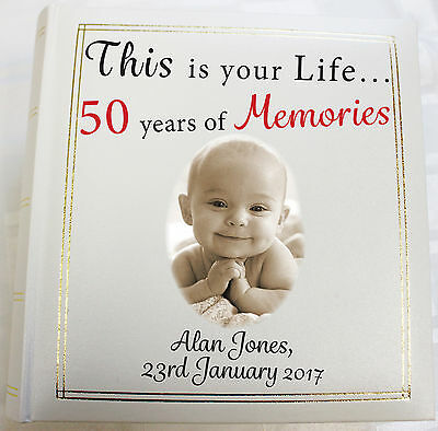 Personalised Photo Album,Memory/Guest Book, 50th Birthday,This Is Your Life Gift • 26£