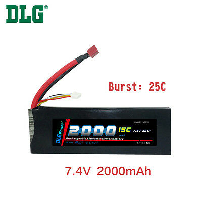 $ CDN28.99 • Buy Genuine DLG RC Battery 7.4V 2S 15C 2000mAh Burst 25C Li-Po LiPo Dean's T Plug