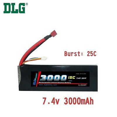 $ CDN39.99 • Buy Genuine DLG RC Battery 7.4V 2S 15C 3000mAh Burst 25C Li-Po LiPo Dean's T Plug