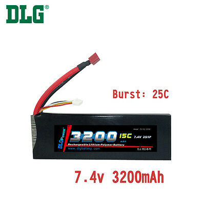 $ CDN38.99 • Buy Genuine DLG RC Battery 7.4V 2S 15C 3200mAh Burst 25C Li-Po LiPo Dean's T Plug