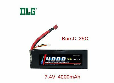 $ CDN47.99 • Buy Genuine DLG RC Battery 7.4V 2S 15C 4000mAh Burst 25C Li-Po LiPo Dean's T Plug