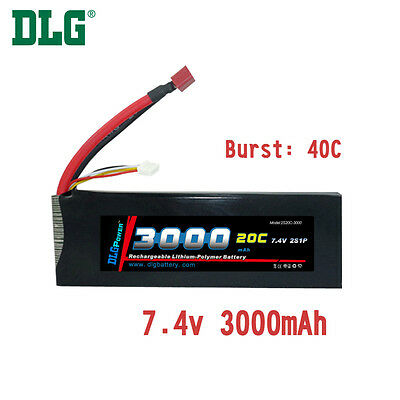 $ CDN37.99 • Buy Genuine DLG RC Battery 7.4V 2S 20C 3000mAh Burst 40C Li-Po LiPo Dean's T Plug