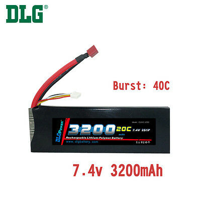 $ CDN39.99 • Buy Genuine DLG RC Battery 7.4V 2S 20C 3200mAh Burst 40C Li-Po LiPo Dean's T Plug