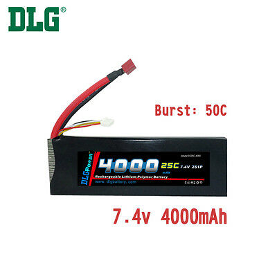 $ CDN49.99 • Buy Genuine DLG RC Battery 7.4V 2S 25C 4000mAh Burst 50C Li-Po LiPo Dean's T Plug