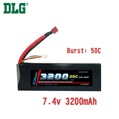 $ CDN41.99 • Buy Genuine DLG RC Battery 7.4V 2S 25C 3200mAh Burst 50C Li-Po LiPo Dean's T Plug