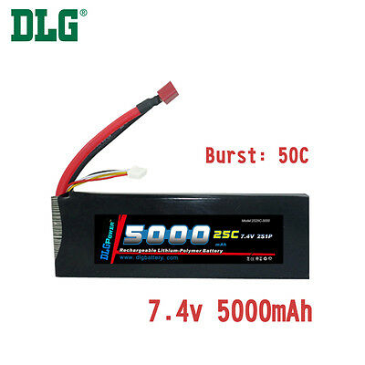 $ CDN61.99 • Buy Genuine DLG RC Battery 7.4V 2S 25C 5000mAh Burst 50C Li-Po LiPo Dean's T Plug