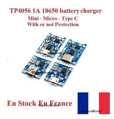 TP4056 1A Lithium Lipo 18650 Battery Charger With Or Not Protection DIY Arduino • 3.58£