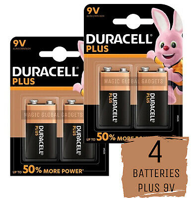 4 X Duracell Plus Power 9v 6lr61 Mn1604 Pp3 Alkaline Batteries Smoke Alarm • 8.99£