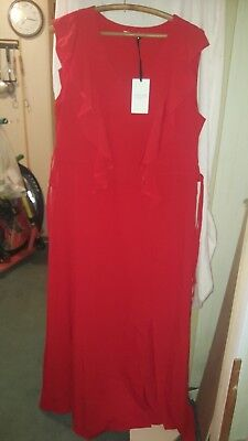 £14 • Buy Coercion Tu Red Short Sleeves Long Frilly  Dress With Tags Tk Max 42 Chest Sz 16