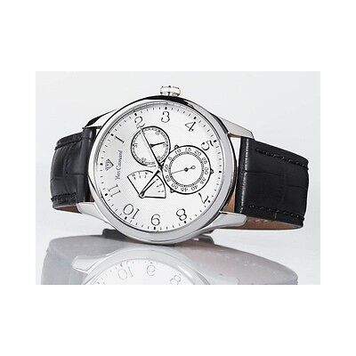 £84.23 • Buy YVES CAMANI ROUBION YC1056-A Retrograde Mens Day&Date StainlessSteel Leather New