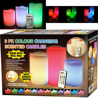 Colour Changing Flickering Flameless Led 4pc Wax Mood Vanilla Scented Candles • 7.85£