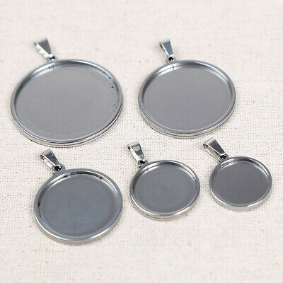 £3.96 • Buy Stainless Steel Cabochon Base Settings 30mm Blank Pendant Trays Jewelry Bezels