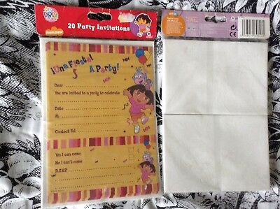 1 Pack Of Dora The Explora 20 X  Party Invites And Envelopes BNIB  • 1.99£