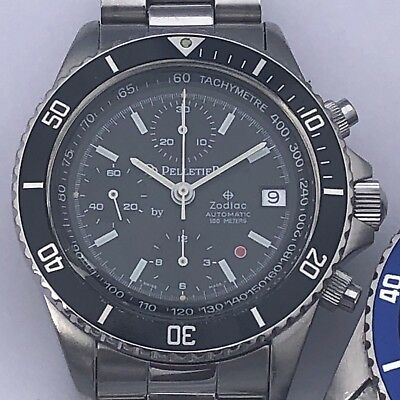 $ CDN2320.75 • Buy Vintage Zodiac Red Dot Automatic Chronograph Valjoux 7750 Black Dial 40 Mm