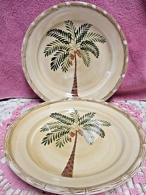 $12.99 • Buy Home Trends West Palm  Dinner Plates  10 3/8  Set Of 2  Palm Tree   6 Available