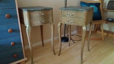 £295 • Buy Pair Of Vintage Bedside Tables 2 Drawers Shabby Chic Retro Solid Wood  Antique