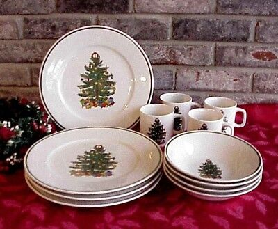 $32.50 • Buy Vintage Christmas Dinnerware Dishes Tree Centers Green Band 12 Pieces Made China