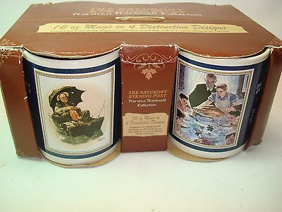 $ CDN46.23 • Buy Cup Set Saturday Evening Post Norman Rockwell Coffee Mug Set Of 4 Original Box