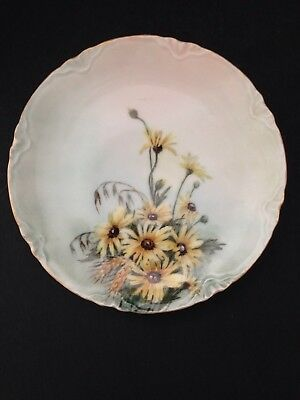 $9.95 • Buy J & C Bavaria Porcelain Plate With Daisies And Wheat  Gold Colored Trim 7 1/2