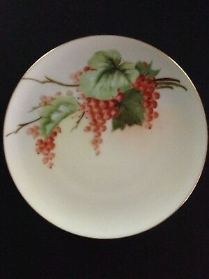 $9.95 • Buy J & C Bavaria Porcelain Plate Red Currants & Greenery Gold Colored Trim 7 1/2