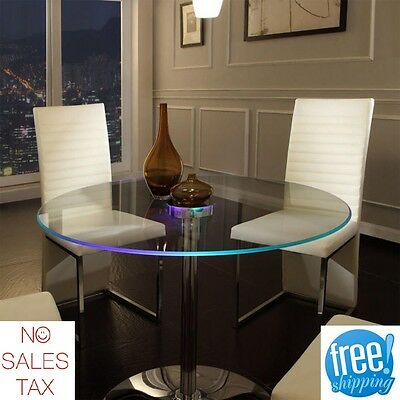 $330.15 • Buy LED Dining Table Lighted Glass Round Large Modern Unique Home Furniture Kitchen