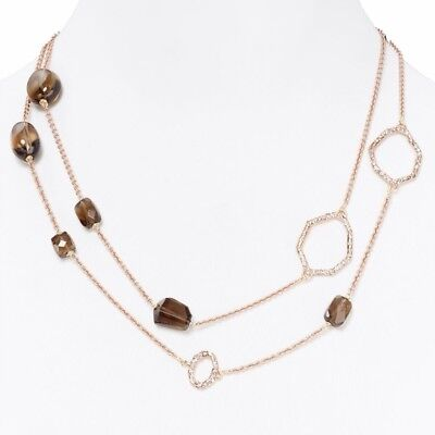 $125 • Buy $225 Alexis Bittar Bel Air Rose Gold Tone Statement Link Long Necklace
