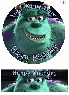 Edible Round Cake Topper Monsters Inc Topper - Wafer Sheet, Icing Sheet.13 • 4.49£