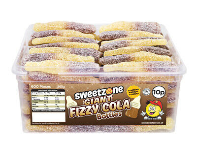 Halal Sweets Sweetzone Giant Fizzy Cola Bottles Jelly Chewy Candy Tub 60pcs • 8.95£