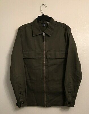 5abd6d53 H&M Divided Mens Army Green Zip Down Shirt Size XS • 10.00$