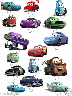 16 Standing CARS Decorations -Wafer/ Rice Paper -Cupcake Topper  • 3.99£