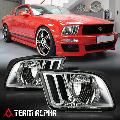 $73.89 • Buy Fits 2005-2009 Ford Mustang S197 Pony [Chrome/Clear] L+R Headlight Headlamp Lamp