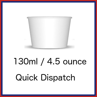 4oz 130ml White Paper Ice Cream Dessert Container Cups Tubs Treat Cups  • 8£