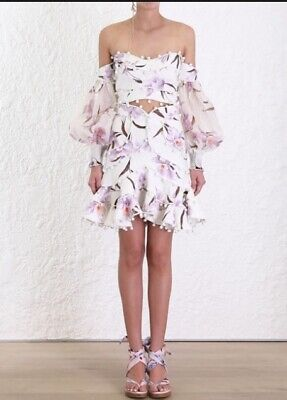 $303.92 • Buy Zimmermann Corsage Bauble Skirt | Ivory Lilac Orchid Floral Linen Mini $1,000 RP