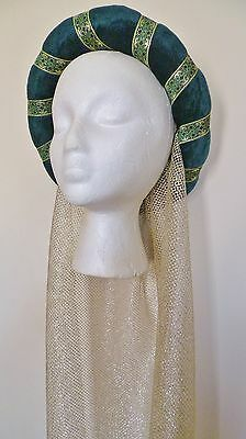 Green & Gold Medieval Headdress MADE TO ORDER Gothic Headpiece Pagan Circlet Hat • 18.99£