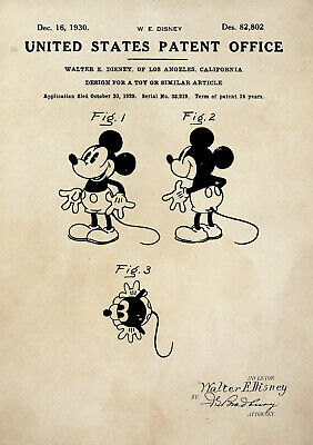 Patent Print - Mickey Mouse/Walt Disney/Toy - Vintage Poster Wall Art - A4 • 3.50£