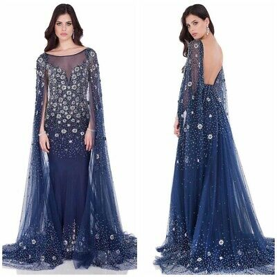 £430.64 • Buy Nwt Terani Pagent Dress 1622g1996 Blue Emblished Cape Gown With Long Train $1288