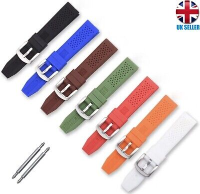 £3.99 • Buy Soft Rubber Silicone Black Brown Orange Red Blue Watch Strap Band 18.20.22.24mm