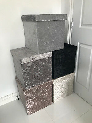 Home Living Luxury Crushed Velvet Square Folding Storage Seat Box Chest Ottoman • 12£