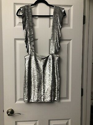 $ CDN277.88 • Buy IRO Sequined Mini Skirt Size 38 Silver