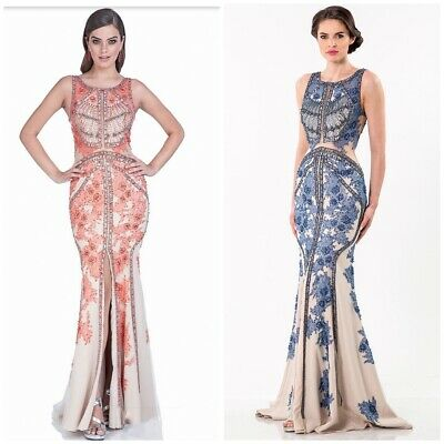 £358.75 • Buy Nwt Terani Pagent Gown 1521gl0787a Coral Nude Emblished Lace Gown Sz 2,4,6,8