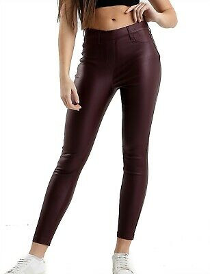 Ladies Ex River Island Store High Waist Leather Look Super Skinny Womens Jegging • 9.95£