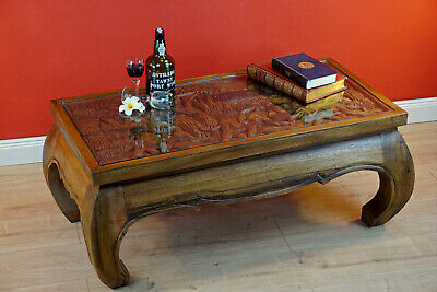 Opium Table Elephants Carving Coffee Table Solid Wood Glass Plate Solid Wood • 357.96£