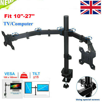 """£17.99 • Buy Double Twin Arm Desk Mount Bracket LCD Computer Monitor Stand 13""""-27"""" Screen TV"""