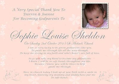 £3.25 • Buy  Personalised A4 Thank You For Being My Godparent Keepsake Gift , Pink