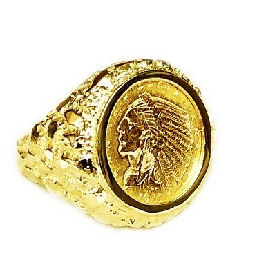 £1324.06 • Buy 14K Yellow Gold 23.5 MM NUGGET COIN RING With  2 1/2 DOLLAR INDIAN HEAD COIN