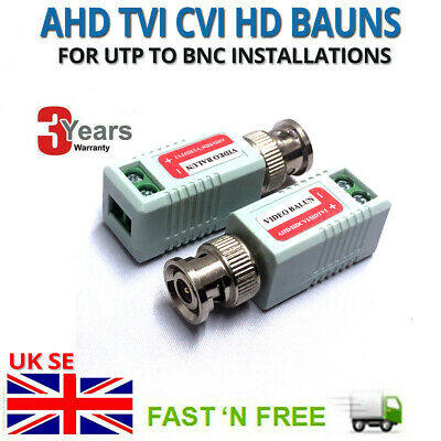 CCTV CAT5 5e CAT6 Coax Coaxial Camera BNC Video Balun Cable Connector Adapter UK • 1.99£