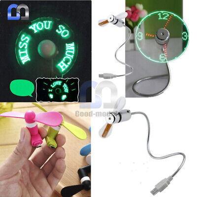 AU9 • Buy Portable Micro/Mini LED USB Cooling Clock Fan Flashing Real Time Cooling Fan