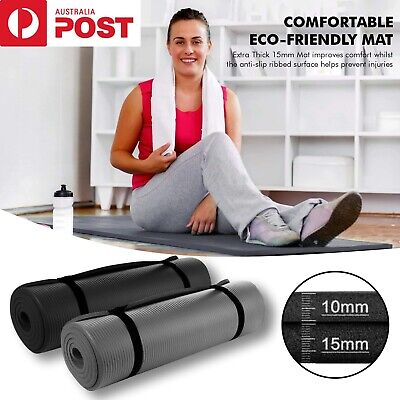 AU19.99 • Buy 10 15 MM Thick Yoga Mat Pad Non Slip Exercise Fitness Gym Pilates NBR Durable