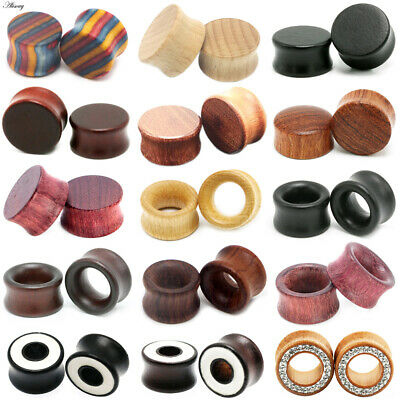 AU3.43 • Buy 8mm - 20mm Wood Ear Tunnel Plug Saddle Stretcher Wooden Double Flared Plugs New
